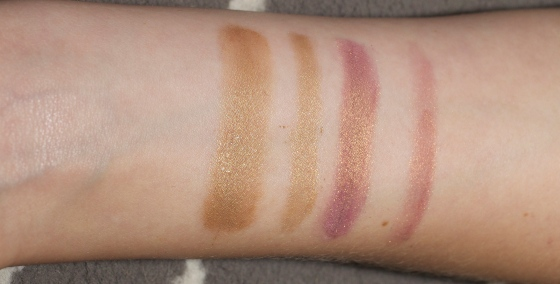 A photo of eyeshadow swatches on my forearm