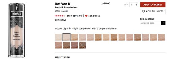 Image of Kat Von D foundation swatches
